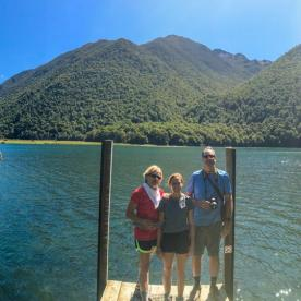 Family at Lake Rotoiti, St Arnaud Nelson Lakes National Park, Tasman New Zealand