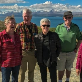 Group at Lake Pukaki, Aoraki / Mount Cook in the background, Canterbury New Zealand