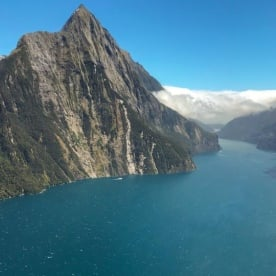 Helicopter View at Milford Sound, Fiordland National Park Southland New Zealand