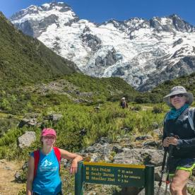 Ladies at Kea Point Track, Aoraki Mount Cook National Park, Canterbury New Zealand