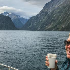 Lady on Milford Sound cruise, Fiordland National Park Southland New Zealand