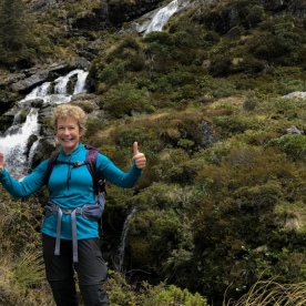 Lady at Routeburn Track Falls, Otago New Zealand
