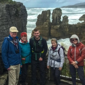 Group at Punakaiki Pancake Rocks and Blowholes, Porarari National Park West Coast New Zealand