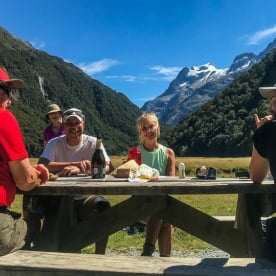 Lunch at Routeburn Track Valley, Otago New Zealand