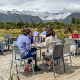 Outdoor lunch at Guest Matheson cafe, West Coast New Zealand