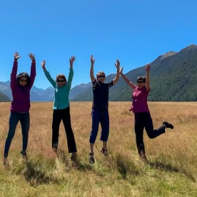 Happy group at Eglinton Valley, Fiordland New Zealand