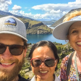 Group selfie at Mou Waho Island, Wanaka Otago New Zealand