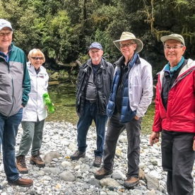 Group at Routeburn track river, Otago New Zealand