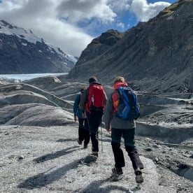 Walking at Tasman Glacier, Canterbury New Zealand