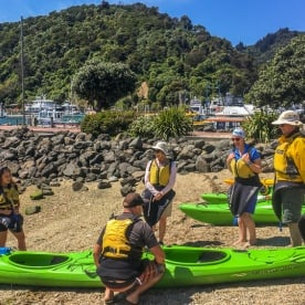 Getting ready to kayak at Picton, Marlborough New Zealand