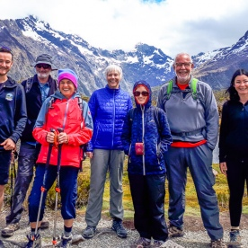 Group at Key Summit Lookout Trail Lake, Fiordland New Zealand