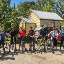 Group ready to bike at Arrowtown, Otago New Zealand
