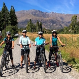 Cycling group at the Queenstown Trail, Otago New Zealand