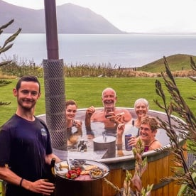 Outdoor bath at Lake Ohau Quarters, Canterbury New Zealand