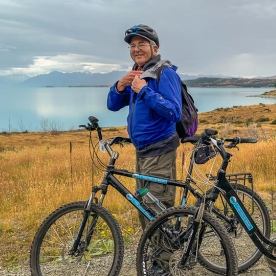 Biking couple at Lake Tekapo, Canterbury New Zealand