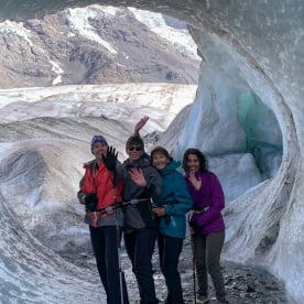 Group at Tasman Glacier, Canterbury New Zealand