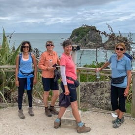 Group at Punakaiki pancake rocks, West Coast New Zealand