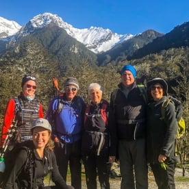 Group starting the Routeburn Track valley, Otago New Zealand