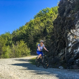 Guest biking the Kawarau river, Otago New Zealand