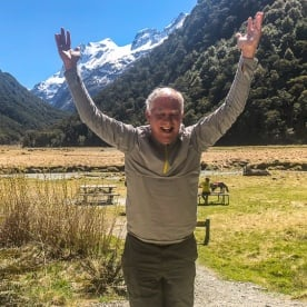 Happy Guest at the Routeburn Track valley, Otago New Zealand