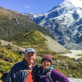 Couple at Hooker Valley Track, Canterbury New Zealand