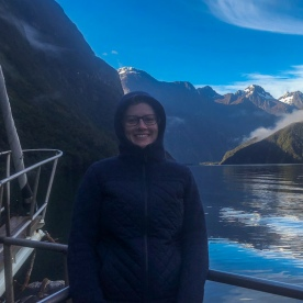 Guest on the boat at Milford Sound, Fiordland New Zealand