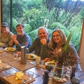 Dinner at Martins Bay Hut, Fiordland New Zealand