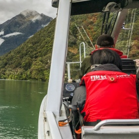 Jetboat on Lake Mckerrow, Fiordland New Zealand