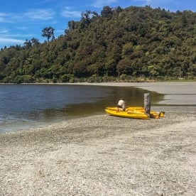 Kayak at Okarito Lagoon, West Coast New Zealand