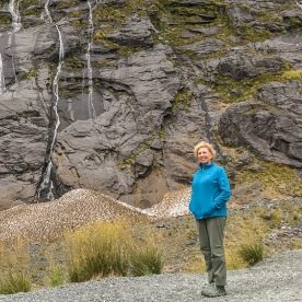 Lady at Homer Tunnel, Fiordland New Zealand