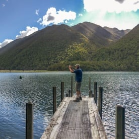 Taking pictures at Lake Rotoiti, Tasman New Zealand