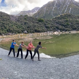 Group at Tasman Glacier Viewpoint, Canterbury New Zealand