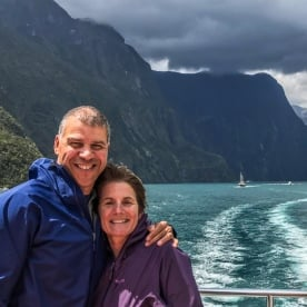 Couple on a Boat Cruise at Milford Sound, Fiordland National Park Southland New Zealand