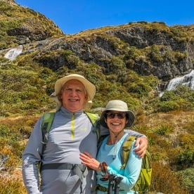 Couple at Routeburn Track falls, Otago New Zealand