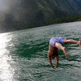 A quick evening dip in Milford Sound
