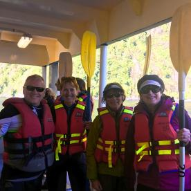 Getting ready for kayaking at Milford Sound