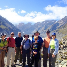 hikers at mount cook national park new zealand