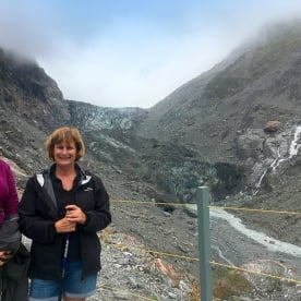 Denise and Nicola taking a look at the Fox Glacier