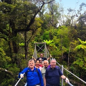 Pausing on a swing bridge in Paparoa National Park