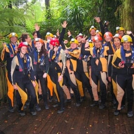 The group at Nile River Glowworm Rafting