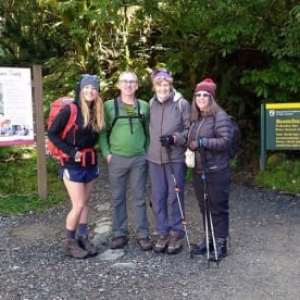 The team at the Routeburn Track Entrance