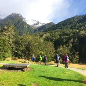 Heading off on the Routeburn Track with a fresh dusting of the white stuff on the tops. Mt Aspiring National Park.