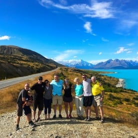 Our Kiwi Classic party pause for a group shot  at Lake Pukaki