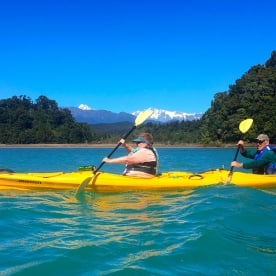 It's pretty choice getting to watch the Southern Alps pass by from your kayak!