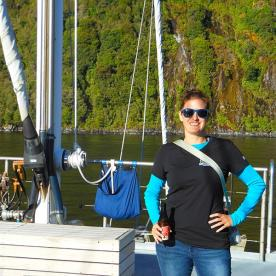 Our super guide Holly aboard the Milford Mariner at Milford Sound