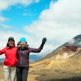 Ladies posing in front of Mt Ngauruhoe