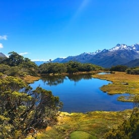 Wow! Perfectly glassy Lake Howden on the Routeburn track