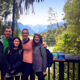 hikers at lake matheson