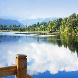 reflections on the lake matheson new zealand