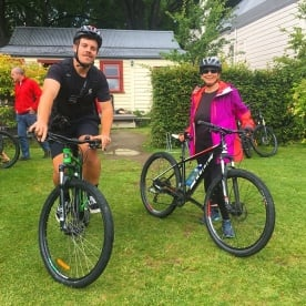 Will and Helen ready to hit the9 bike tracks in Queenstown